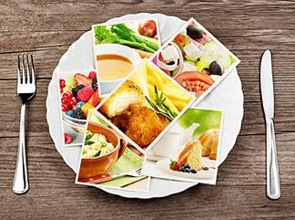 photos on a dinner plate
